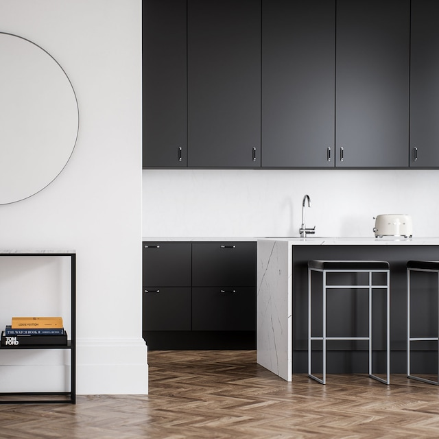 Bar stool Without Back, Grey / Black Velvet