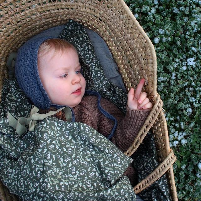 Floral Moss Baby Bedset, Dark Moss Green