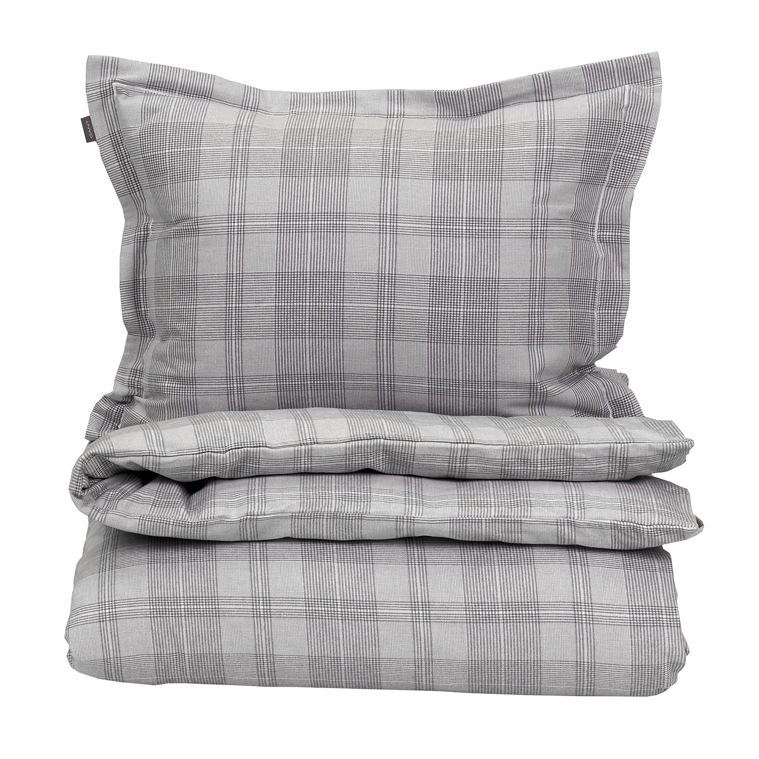 1255b5ca Flanell Check Dynetrekk 150x210cm, Grå - Gant Home @ RoyalDesign.no