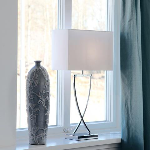 Omega Bordlampe, Krom/Hvit