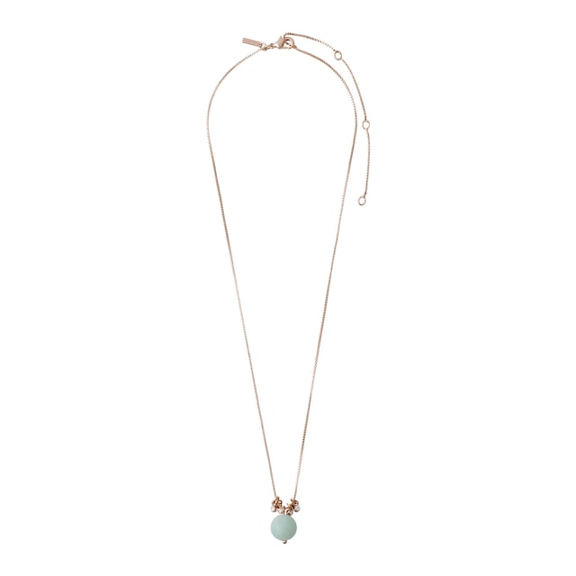 Earth Necklace Stone Pendant, Rose Gold/Green