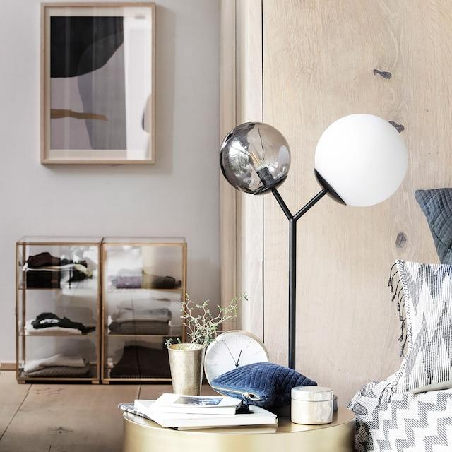 Twice Bordlampe, Sort/Røykgrå/Opalhvit