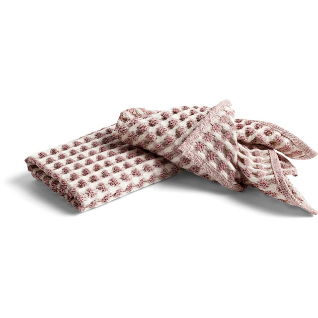 Twist Oppvaskklut/kjøkkenhåndkle Burgunder farget 4 Deler